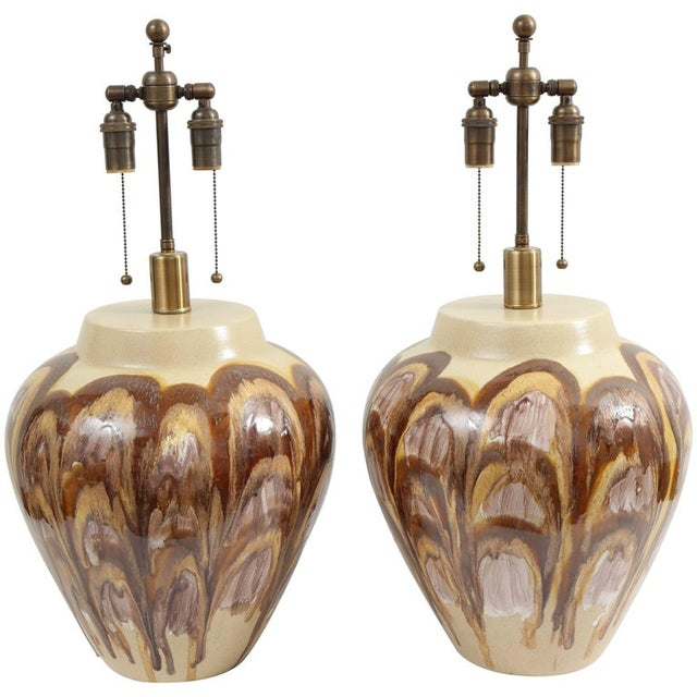 1960s Extra Large Ceramic Lamps - a Pair For Sale In New York - Image 6 of 6