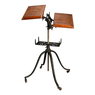 Antique Arts & Crafts Oak and Cast Iron Library Dictionary Book Stand circa 1920 For Sale