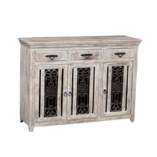Boho Chic Wide White Tall Buffet Cabinet For Sale