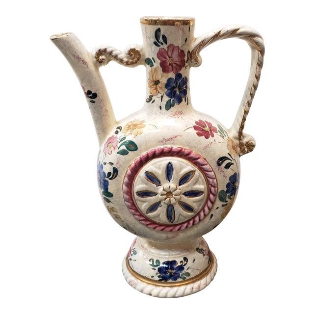 Circa 1920 Belgian Art Deco Ceramic Gilded Floral Motifs Ewer For Sale