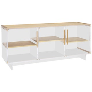 Custom Lucite Sideboard With Brass Shelves and Top For Sale