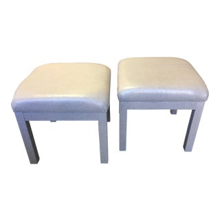 Platinum Glazed Linen Wrapped Stools - A Pair