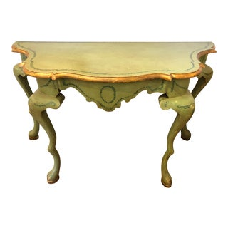 19th Century French Celadon Green Painted Console For Sale