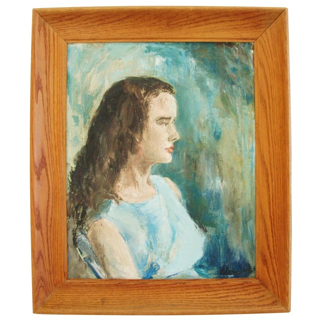 Mid-Century Lady in Blue Oil on Canvas Portrait - Image 1 of 8