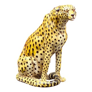 Vintage Life Size Ceramic Cheetah For Sale