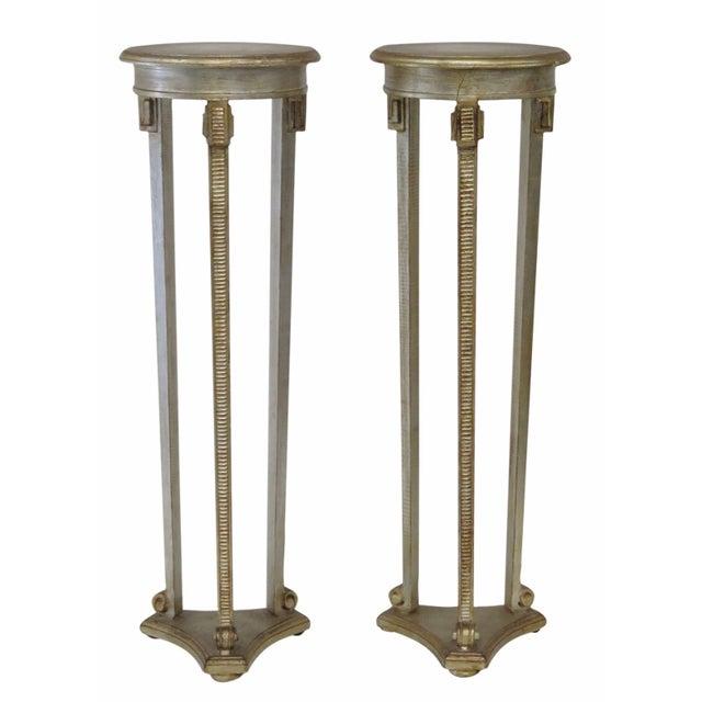 Italian Silverleaf Painted Pedestals - A Pair - Image 1 of 6