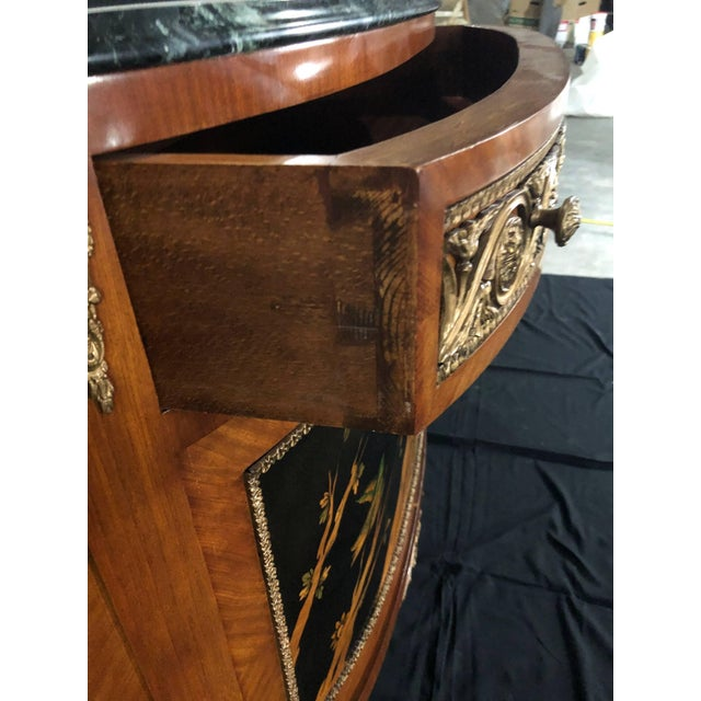 Brown French Louis XV Style Inlaid Demilune Buffet Cabinet Credenza For Sale - Image 8 of 13