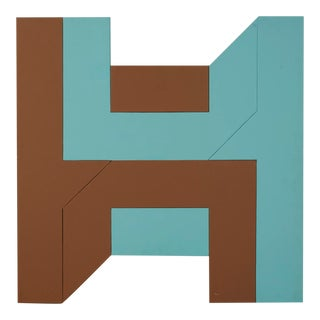 Geometric Hard Edge Abstract on Shaped Masonite For Sale