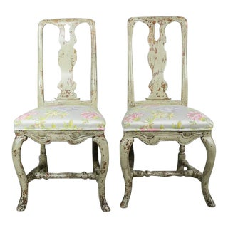 Pair of Swedish Rococo Painted Side Chairs