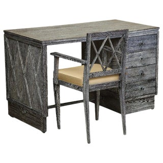 1930s French Gray Cerused Oak Desk and Chair Set-a Pair For Sale