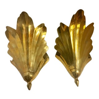 Vintage Brass Wall Containers - A Pair