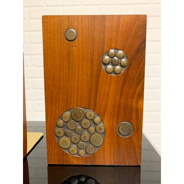 1960s Gordon & Jane Martz for Marshall Studios Walnut and Tile Bookends For Sale - Image 5 of 10