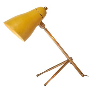 "1950s Giuseppe Ostuni ""Ochetta"" Yellow Wall or Table Lamp for O-Luce For Sale"