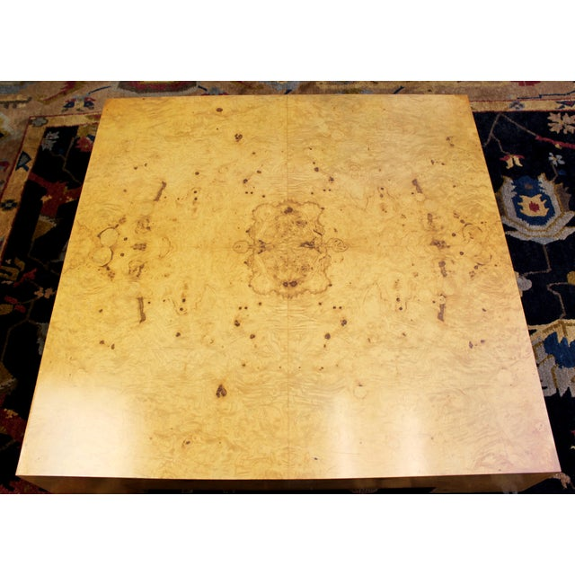 Milo Baughman Mid Century Modern Milo Baughman Large Low Square Burl Wood Coffee Table 1970s For Sale - Image 4 of 9