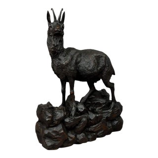 Black Forest Great Carved Wood Chamois Sculpture For Sale