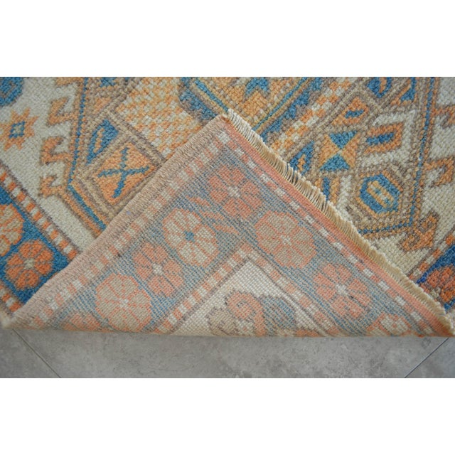 Beige Vintage Low Pile Turkish Rug Hand Knotted Small Area Rug - 3′ X 4′4″ For Sale - Image 8 of 9