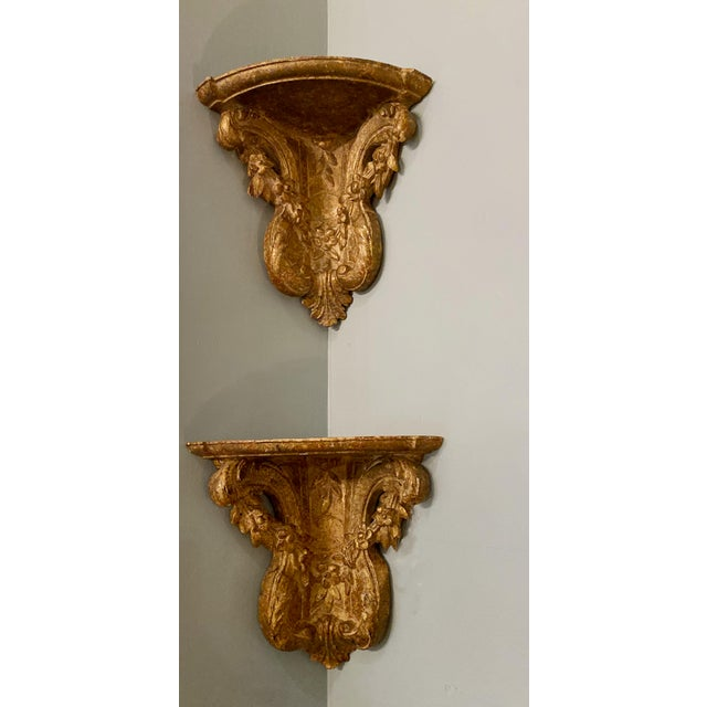 19th Century Vintage Gilt Corner Brackets- a Pair For Sale In Dallas - Image 6 of 7