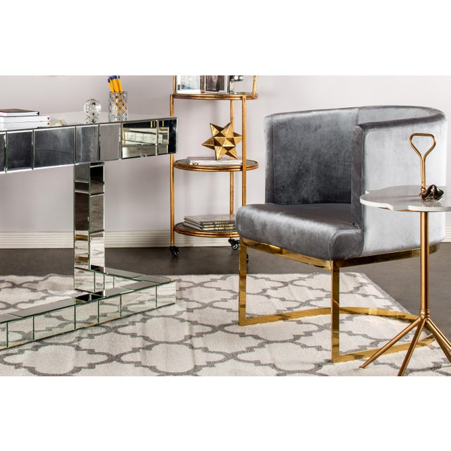 Contemporary Circular Gray Velvet & Gold Dining Accent Chair For Sale - Image 3 of 4