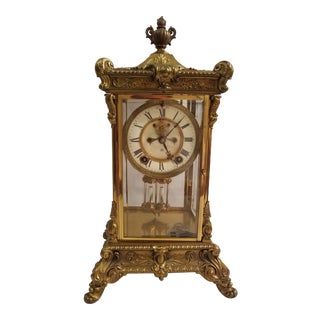 Vintage New York Ansonia Regulator Pendulum Mantel Clock For Sale