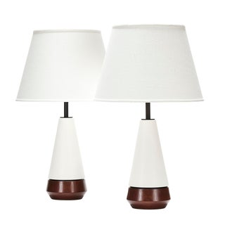 Mercer Lamp in White Quartz With Walnut Base - a Pair For Sale