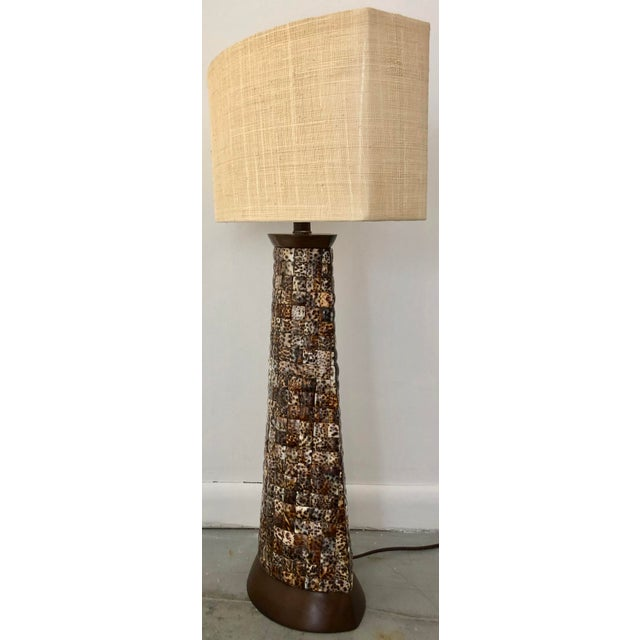 XL Mosaic Shell Table Lamp With Shade For Sale - Image 4 of 11