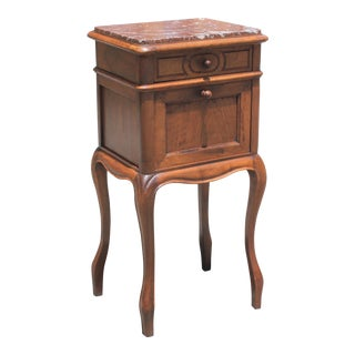 French Louis XV Solid Walnut Night Stand or Side Table Marble Top.