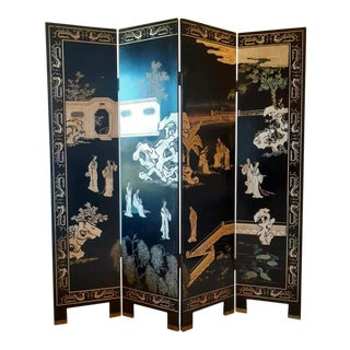 Vintage Chinoiserie Folding Screen For Sale