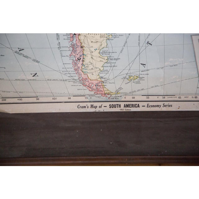 Hard to come by vintage 1937 edition Cram's classroom pull down map of South America. Fair condition on this map, please...