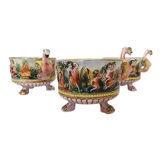 Italian Porcelain Capodimonte Serpent Cups - Set of 3