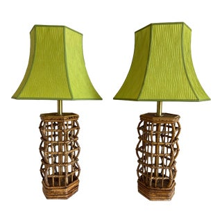 1960s Tortoise Rattan Lamps & Shades - a Pair For Sale