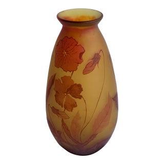 Poppy Flower Cameo Glass Vase For Sale