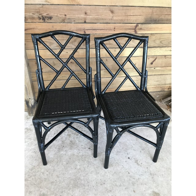 Black Coastal Regency Rattan Black Lacquered Chinese Chippendale Chairs-A Pair For Sale - Image 8 of 10