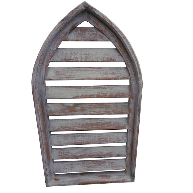 Cottage Pair Rustic Gray Distressed Cathedral Slatted Shutters Shabby Cottage Windows For Sale - Image 3 of 6