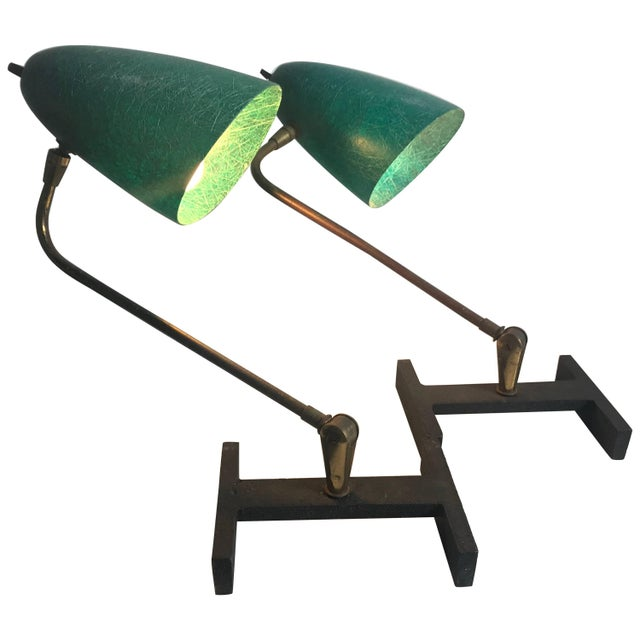 Matching Modernist Task Desk Lamps Fiberglass Shades, France - A Pair For Sale - Image 10 of 10