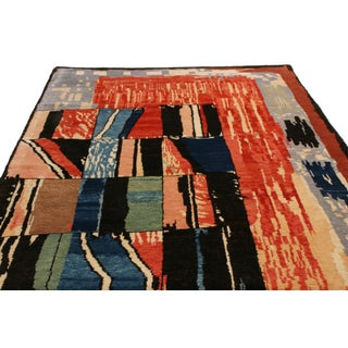 Modern Geometric Traditional Red and Blue Wool Rug Preview