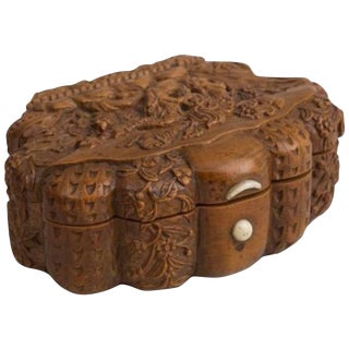 Mid 19th Century Antique French Carved Snuff Box For Sale
