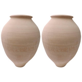 Artisan Earthen Ware Amphora Form Vases by Dix, Circa 1985 - a Pair For Sale