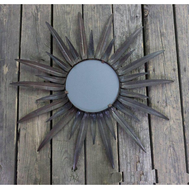 Copper-Plated Sunburst Mirror For Sale In New York - Image 6 of 8