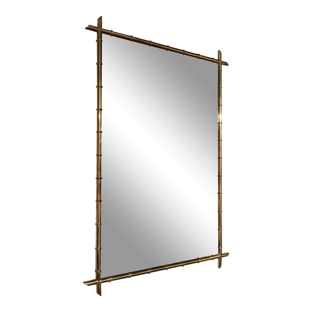 Hollywood Regency Faux Bamboo Brass Mirror For Sale