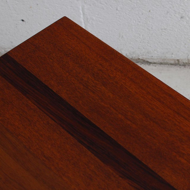 Mid-Century Teak Walnut & Rosewood Accent Table For Sale - Image 5 of 7