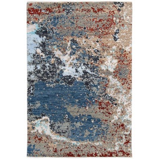 21st Century Contemporary Abstract Multicolored Indian Rug 4 X 6 For Sale