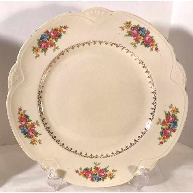 Shabby Chic Vintage Homer Laughlin Ivory Floral Dinner Plates - Set of 4 For Sale - Image 3 of 9