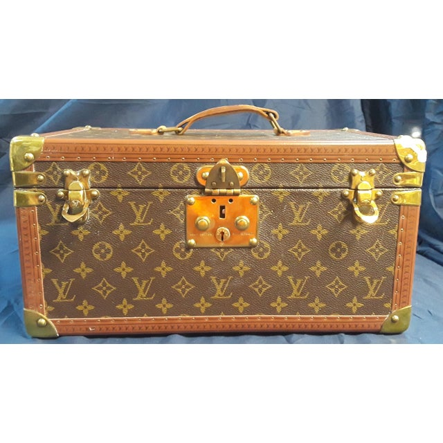 Animal Skin 1980s Vintage Louis Vuitton Monogram Cosmetic Travel Train Case For Sale - Image 7 of 7