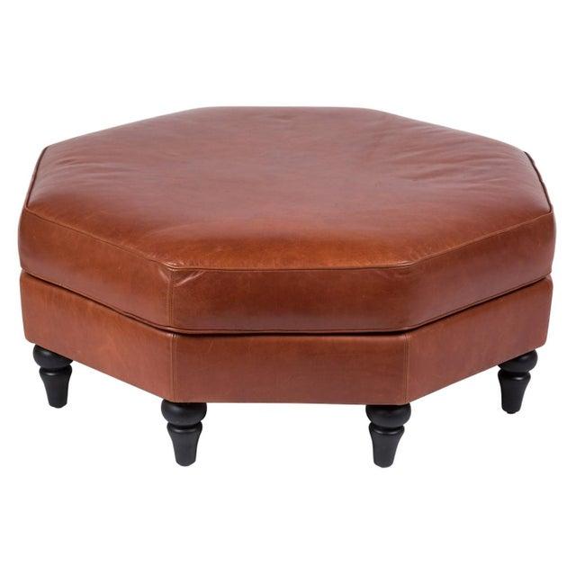 Brown Custom Edelman Leather Hexagonal Ottoman For Sale - Image 8 of 8