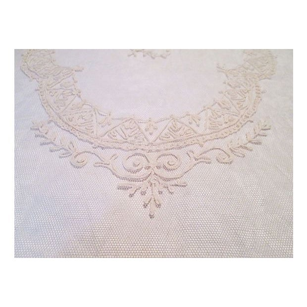 19th-C. French Embroidered Tulle Runner For Sale - Image 4 of 7