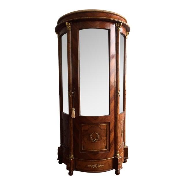 Burlwood Mirrored Curio Cabinet - Image 1 of 8