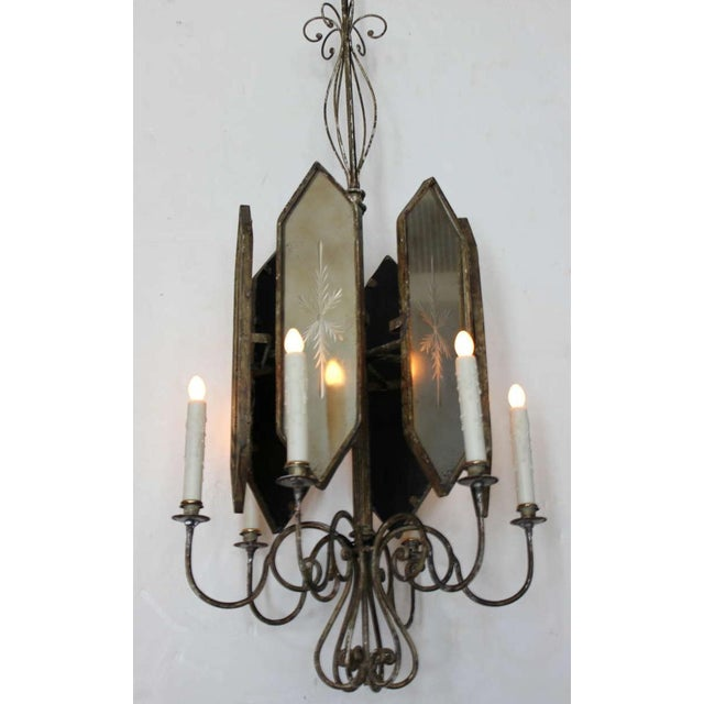 Hollywood Regency Unusual Hollywood Regency Style Italian Iron and Mirror Lantern Chandelier For Sale - Image 3 of 4