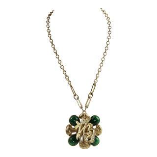 1960's La Royale Retro Asian Pendant Necklace For Sale