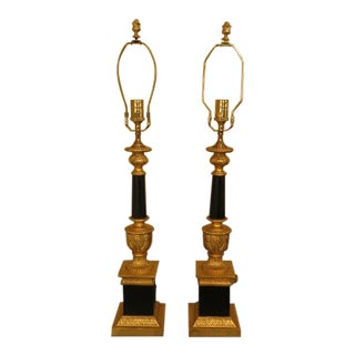 Chelsea House Black & Gold Regency Lamps - a Pair For Sale