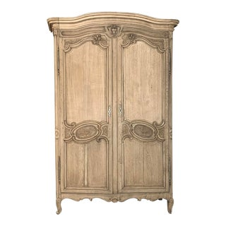 19th Century Country French Normandy Stripped Oak Armoire For Sale